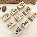 Stobok - 6 sellos de madera para plantas, flores, hojas, vintage, madera, floral para hacer tarjetas, manualidades, diario, estampado, diseño aleatorio
