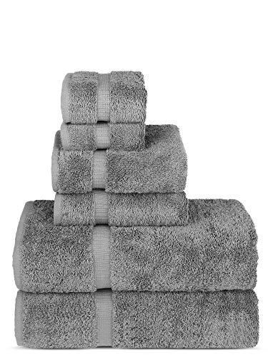 Chakir Turkish Linens Luxury Spa and Hotel Quality Premium Turkish Cotton 6-Piece Towel Set (2 x Bath Towels, 2 x Hand Towels, 2 x Washcloths, Gray)