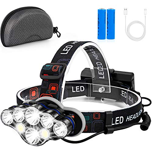 Foxdott Rechargeable Headlamp, 8 LED Headlamp Flashlight with White Red Lights,8 Modes USB Rechargeable Waterproof Head Lamp for Outdoor Camping Cycling Running Fishing