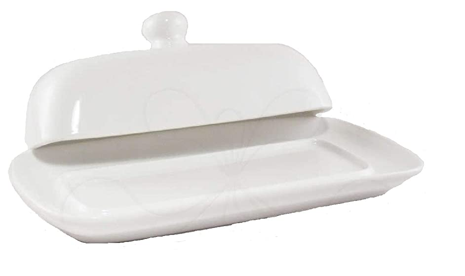Butter Dish with Lid White Fine Porcelain