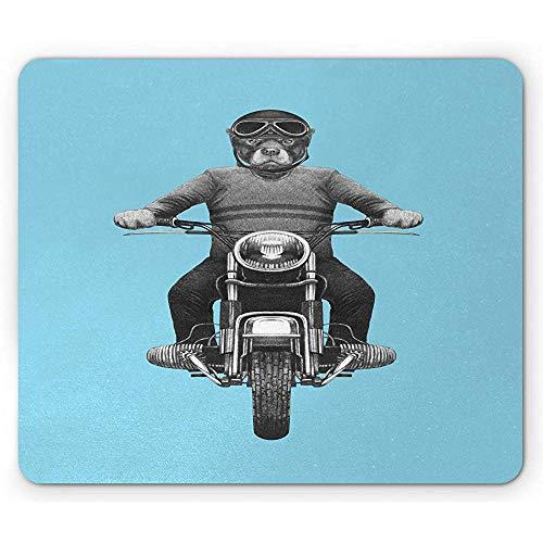 Rottweiler Mauspad,Hunderasse Reiten Motorrad Abenteuer Roller Schutzhelm Rechteck rutschfeste Gummi Mousepad