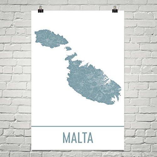Malta Kaart, Malta Art, Malta Print, Malta Island Poster, Malta Geschenken, Kaart van Malta, Middellandse Zee-eilanden, Mediterrane Poster