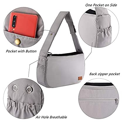 PETTOM Dog Sling Carrier Grey Small Dog Puppy Sling Pet Rabbit Cat Hands Free Adjustable Shoulder Carry Handbag with Mat Pad for Outdoor Travel 2
