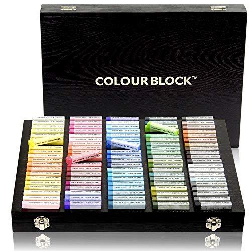 Color:Block - Juego de 100 tizas cuadradas en una caja de madera de lujo, color pastel