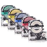 5x Labelwell 12mmx8m Compatibile Epson LC-4WBN9/LC-4LBP9/LC-4RBP9/LC-4YBW9/LC-4GBP9 Bianco...
