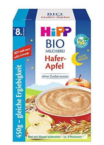 Hipp Bio-Milchbreie ohne Zuckerzusatz-Vorratspackung, ab 8. Monat, Gute-Nacht-Brei Hafer Apfel, 4er Pack (4 x 450 g)