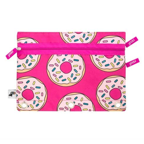 Yoobi 2-Zipper Binder Pencil Case Donuts