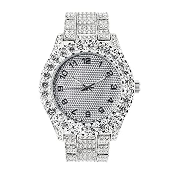 Mens 44mm Iced Out Solitaire Bezel Silver Diamond Watch with Bling-ed Out Metal Band and Adjustable Links - Quartz Movement