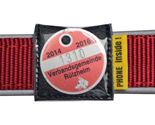 josi.li Halsbandtasche für Hundemarken bis 28x28mm, Leder schwarz, für Halsbandbreite bis 30mm