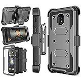 Njjex Galaxy J3 Orbit Case, for Samsung J3 2018/J3 Eclipse 2/J3 Achieve/Express Prime 3/Amp Prime 3/J3 Prime 2/J3 Emerge/J3 V 3rd Gen/J3 Aura/J3 Star Case, Holster Swivel Belt Clip Phone Cover - Grey