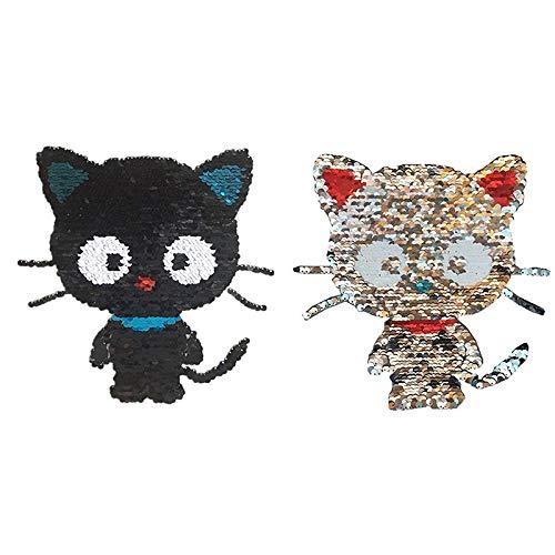 BLOUR 1 Uds Tela de Lentejuelas de Gato Grande Negra para Planchar en la Ropa Parche Decorativo Pluma Cuentas de Planchado Personalizadas Pegar Pegatinas de Costura