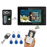 HL 7-Inch WiFi Timbre Video Portero con la Huella Dactilar RFID, contraseña con la cámara de visión Nocturna Cableada 1000TVL, apoye la operación remota de la aplicación