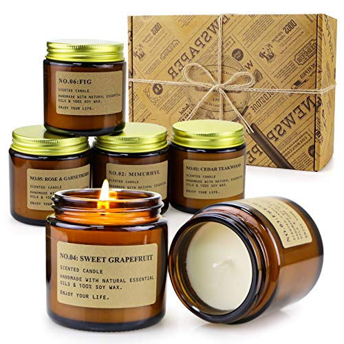 6 Pack Candles for Home Scented Aromatherapy Candle Gift Set for Women Soy Wax Long Lasting Amber Jar Candles Gift for Birthday Mother's Thanksgiving Day Present