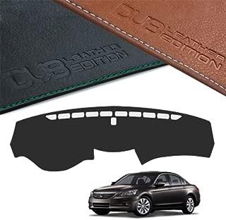 LIGHTKOREA Dub Custom Made Leather Edition Premium Dashboard Cover for Honda Accord 2008 2012 (Black Leather)