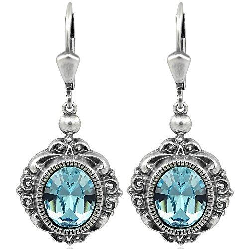 Ohrringe mit Kristallen von Swarovski® Blau Silber Ohrhänger NOBEL SCHMUCK