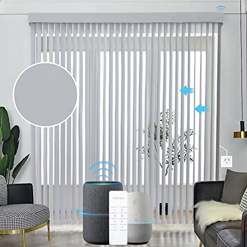 Graywind Motorized Vertical Blinds Compatible with Alexa Google Privacy Reversible Blackout Smart Vertical Blind Remote Control Track Slats Set for Patio Sliding Glass Doors (WhiteSmoke)