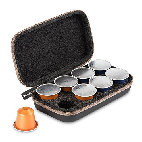 ROMAUNT Estuche portátil para Cápsulas de café compatibles con Nespresso,Rígida Protector Bolsa de Almacenamiento ligero organizador,Compañero de Minipresso y Nanopresso(Marrón)