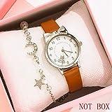 Relojes Para Mujer 2 unids / set Relojes de cuarzo de cuero para mujer para mujeres Moda Simple Ladies Relojes de pulsera Reloj Montre Femme Relogio Feminino Relojes Decorativos Casuales Para Niñas Da