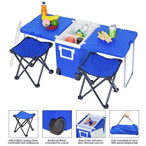 Chaos Blau Außen Picknick Faltbarer Multi-Funktions-Rollen-Cooler Oxford Tuch Mit Beutel-Stuhl for Die Fischerei Camping Barbecue Hocker Wandern (Ships from : Hammock)