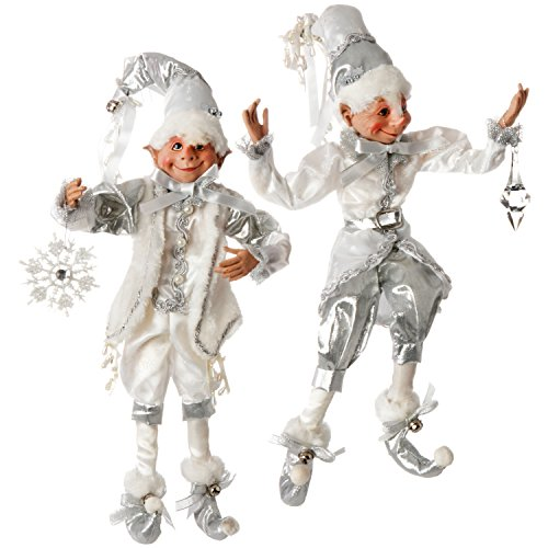 RAZ Imports 16' Silver & White Posable Elves