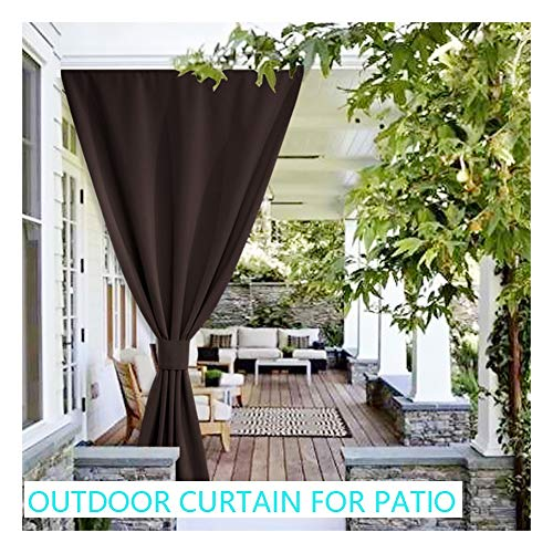 GDMING Outdoor Curtains For Patio Waterproof Privacy Anti-UV Awning Divider For Balcony Terrace Porch Polyester, 32 Sizes With Tieback (Color : Brown, Size : 4x3m)