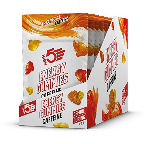 HIGH5 Energy Gummies Caffeine Pocket Sized Quick Release Energy On The Go (Tropical) (10 x 26g Packs)