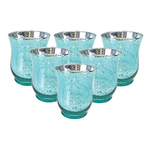 Just Artifacts Mercury Glass Hurricane Votive Candle Holder 3.5-Inch (6pcs, Speckled Aqua) - Mercury Glass Votive Tealight Candle Holders for Weddings, Parties and Home Décor