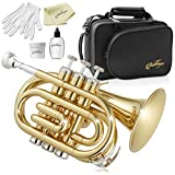 Ashthorpe Bb Brass Pocket Trumpet with Gold Lacquer Finish - Includes Case, Mouthpiece, Gloves, Cleaning Cloth, Valve Oil
