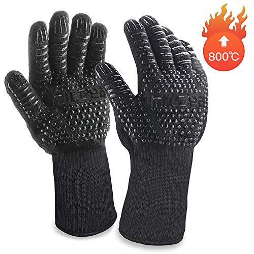 MILcea Grillhandschuhe Ofenhandschuhe Grill Lederhandschuhe Hitzebeständige bis zu 800 ° C Universalgröße Kochhandschuhe Backhandschuhe...