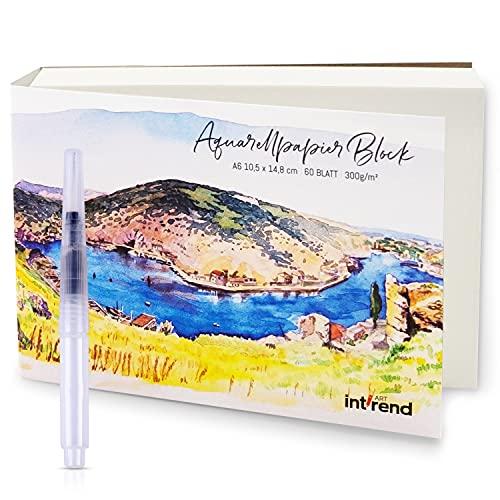 int!rend Carta per acquerelli, 60 fogli DIN A6 da 300 g | Carta per acquerello ed acrilico, album da disegno per acquarelli - Watercolor paper per bambini e professionali