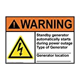 ComplianceSigns Warning Standby Generator Automatically ANSI Label Decal with Symbol,...