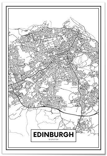 Panorama Póster Mapa de Ciudad Edimburgo 21x30cm - Impreso en Papel 250gr - Póster Pared - Cuadros Modernos Decoración Salón - Cuadros para Dormitorio - Póster Decorativos