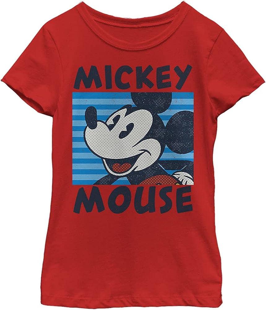 Disney Characters Mickeys Stripes Girl's Solid Crew Tee