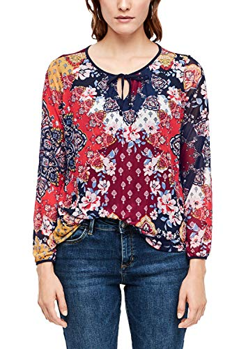 s.Oliver RED Label Damen Mesh-Shirt mit Muster-Print Navy AOP Flowers 46
