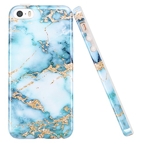 luolnh iPhone 5 5S Case, Aquamarine and Gold Marble...