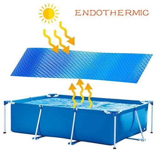 Solarabdeckplane für Frame Pool Rechteckig Solarplane Schwimmbecken Abdeckung Solarfolie Pool Solarplane Cover Schwimmen Poolheizung Poolabdeckplane Wärmeplane Verdunstungsschutz (300*200cm, Blau)