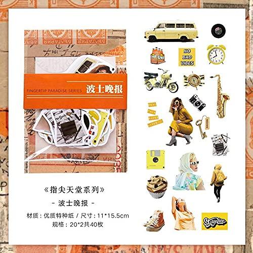 PMSMT 40 unids/Pack Juego de Pegatinas de Papel Vintage Cartel Retro Etiqueta Decorativa DIY para álbum de Recortes planificador Arte Diario Diario