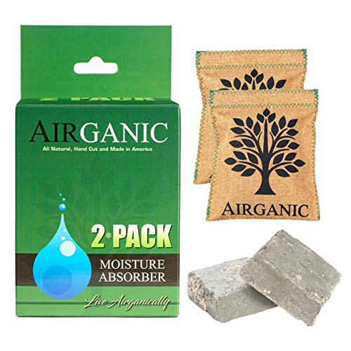 Airganic Moisture Absorbers Made of Natural U.S Minerals & Plants (2-Pack) for Safes Car Closets RV Clothes Storage Mini Dehumidifier Pack & Odor Eliminator, Shoe Deodorizer, Kid, Pet Friendly