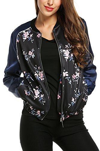 Zeagoo Damen Blumen Bomberjacke Gepolstert mit Reißverschhluss Kurz Jacke mit Stehkragen Blau L