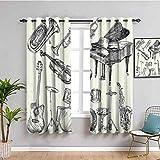Jazz Music Decor Home Decor Cortinas de puerta corredera colección de instrumentos musicales estilo boceto arte con trompeta piano guitarra fácil de instalar beige negro W52 x L63 pulgadas