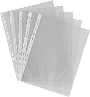 Clear Plastic A4 Punch Punched Pockets Folders Filing Wallets Sleeves Document Files Ring Binder 100 PCS