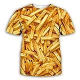 RKWEI T-Shirt da Uomo 3D Patatine Fritte Stampa Donna Top Manica Corta Camicetta Tee personalità novità Casual Estate Asciugatura Rapida Ragazzi e Ragazze