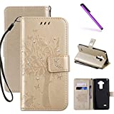 LG G3 Case, LEECOCO Embossed Floral 3D Handmade Bling Crystal Diamonds Butterfly with Card Slots Magnetic Flip Stand PU Leather Wallet Case for LG G3 Wishing Tree Gold