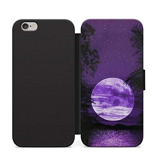 Schutzhülle für Huawei P40 Pro+, PU-Leder, Motiv Sonnenuntergang & Mond, Violett