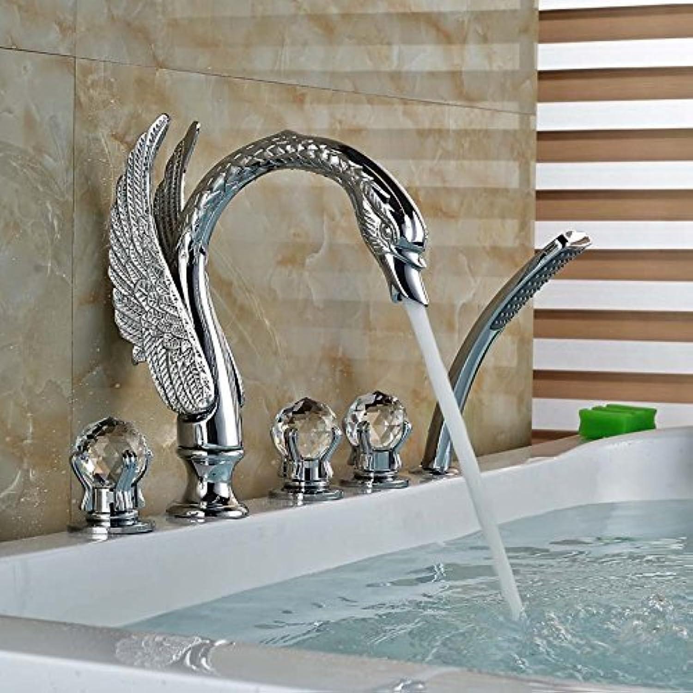 5 stück Messing Badezimmer Badewanne Armatur tippen Sie auf ABS-Kunststoff Handdusche 3 Cristal Griffe