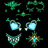 6Sets Noctilucent Face Gems Body Stickers Glow in the Dark Lumino Face Jewels fluorescent face tattoo crystals rhinestone sticker body jewelry for halloween …
