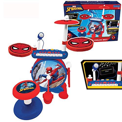Lexibook K610SP Spider Schlagzeug für Kinder, echter digitaler Drum-Sound, 8-Noten-Tastatu, MP3-Stecker, Sitz inklusive, blau/rot