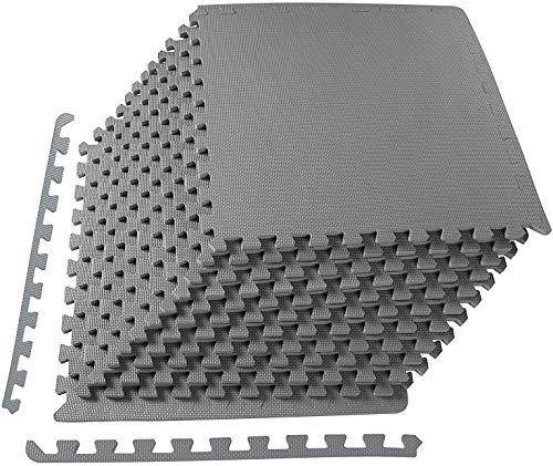 Civigrape Schutzmatten Set Fitness 60x60 cm - 12, 24 oder 48 Puzzlematten   Unterlegmatten   Eva Bodenschutzmatten für den Fitnessraum oder Keller (24 Stück)