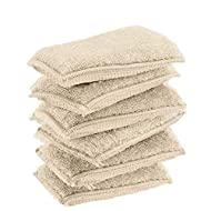 KMAKII Bamboo Kitchen Sponges Dish Sponges Natural Cleaning Sponges Pack of 6