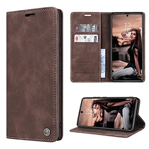 RuiPower Handyhülle für Samsung Galaxy S10 Lite Hülle Premium Leder PU Flip Hülle Wallet Lederhülle Klapphülle Magnetisch Silikon Bumper Schutzhülle für Samsung Galaxy S10 Lite Tasche - Koffee
